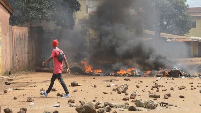 Manifestations à Conakry en Guinée le 14 octobre 2019.